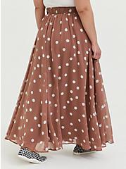 Walnut Polka Dot Chiffon Maxi Skirt, DOTS - BROWN, alternate