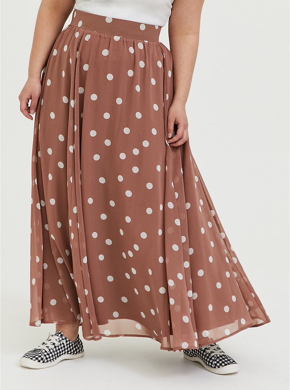 Walnut Polka Dot Chiffon Maxi Skirt, DOTS - BROWN, hi-res