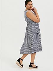 Navy & White Stripe Challis Self Tie Tiered Midi Dress, STRIPE - BLUE, alternate