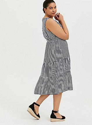 Plus Size Navy & White Stripe Challis Self Tie Tiered Midi Dress, STRIPE - BLUE, alternate