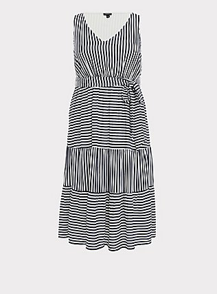 Plus Size Navy & White Stripe Challis Self Tie Tiered Midi Dress, STRIPE - BLUE, flat