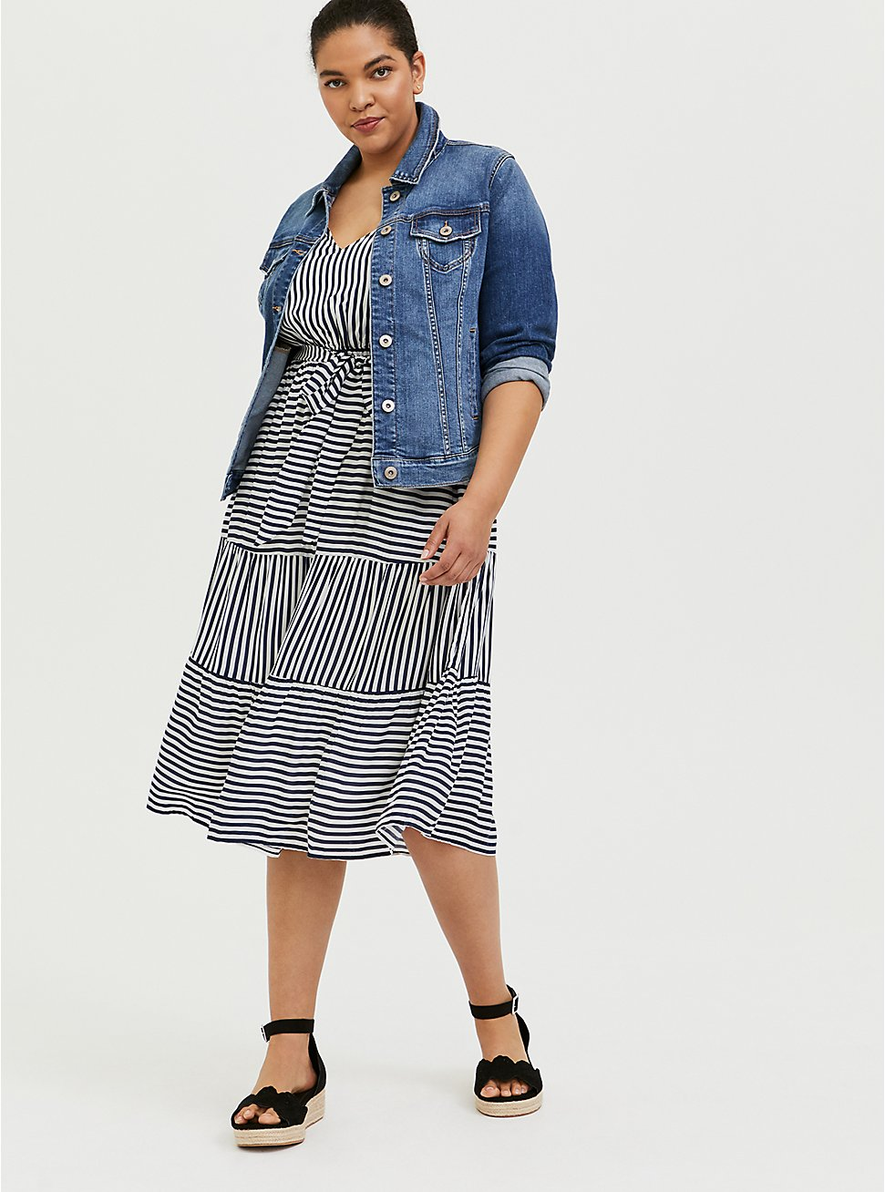 Navy & White Stripe Challis Self Tie Tiered Midi Dress, STRIPE - BLUE, hi-res