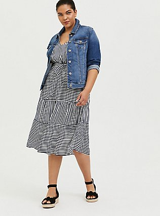 Plus Size Navy & White Stripe Challis Self Tie Tiered Midi Dress, STRIPE - BLUE, hi-res
