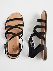 Black Faux Suede Crisscross Gladiator Sandal (WW), BLACK, alternate
