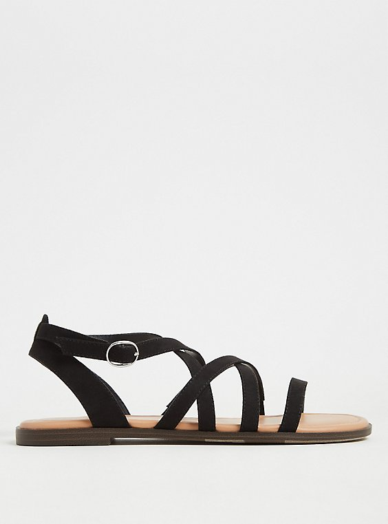 Black Faux Suede Crisscross Gladiator Sandal (WW), , hi-res