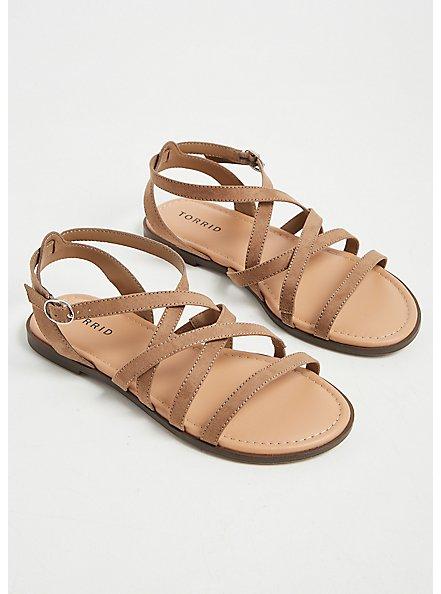Plus Size Taupe Faux Suede Strappy Gladiator Sandal (WW), TAN/BEIGE, alternate