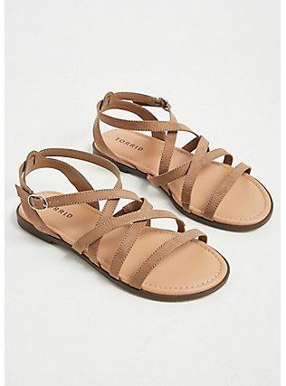 Taupe Faux Suede Strappy Gladiator Sandal (WW), TAN/BEIGE, alternate
