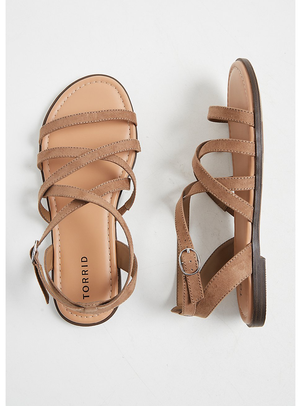 Plus Size Taupe Faux Suede Strappy Gladiator Sandal (WW), TAN/BEIGE, hi-res