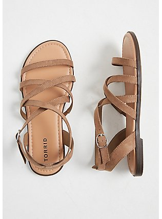 Taupe Faux Suede Strappy Gladiator Sandal (WW), TAN/BEIGE, hi-res