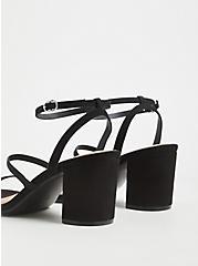 Black Faux Suede Ankle Strap Block Heel (WW), BLACK, alternate
