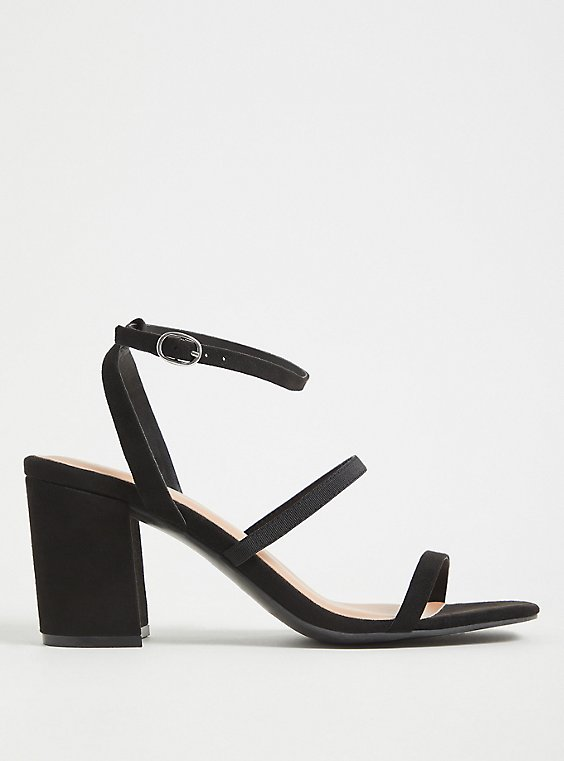 Black Faux Suede Ankle Strap Block Heel (WW), , hi-res