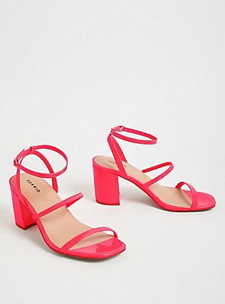 Hot Pink Faux Patent Leather Ankle Strap Block Heel (WW), PINK, alternate