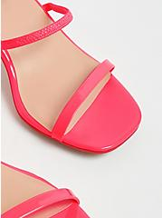 Plus Size Hot Pink Faux Patent Leather Ankle Strap Block Heel (WW), PINK, alternate