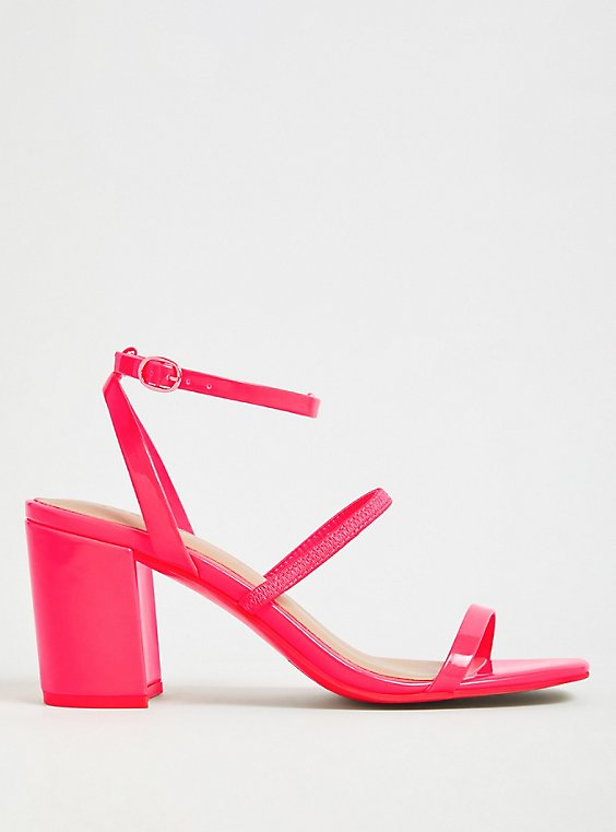 Hot Pink Faux Patent Leather Ankle Strap Block Heel (WW), , hi-res