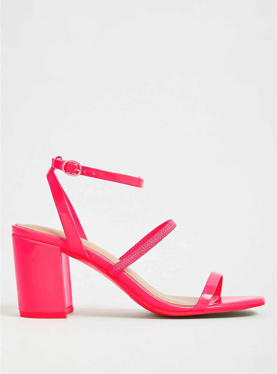 Hot Pink Faux Patent Leather Ankle Strap Block Heel (WW), PINK, hi-res