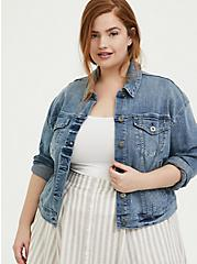 Denim Trucker Jacket - Light Wash, DENIM, alternate