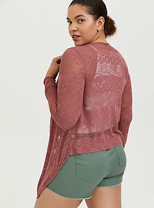 Dusty Rose Pointelle Slub Drape Front Cardigan, WITHERED ROSE PINK, alternate