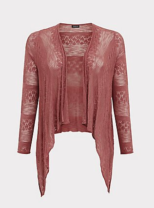 Dusty Rose Pointelle Slub Drape Front Cardigan, WITHERED ROSE PINK, flat