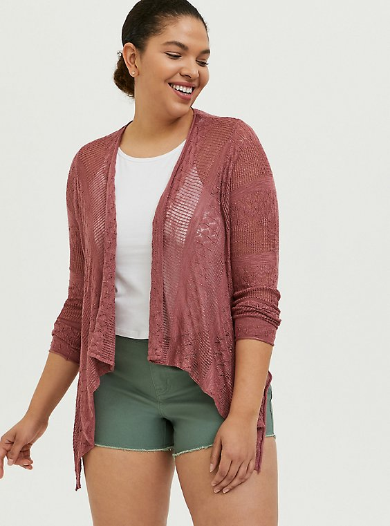 Dusty Rose Pointelle Slub Drape Front Cardigan, , hi-res