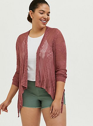 Dusty Rose Pointelle Slub Drape Front Cardigan, WITHERED ROSE PINK, hi-res