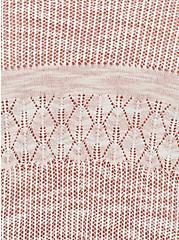 Peach Pink & Ivory Stripe Pointelle Drape Front Cardigan, PEACH BLUSH, alternate