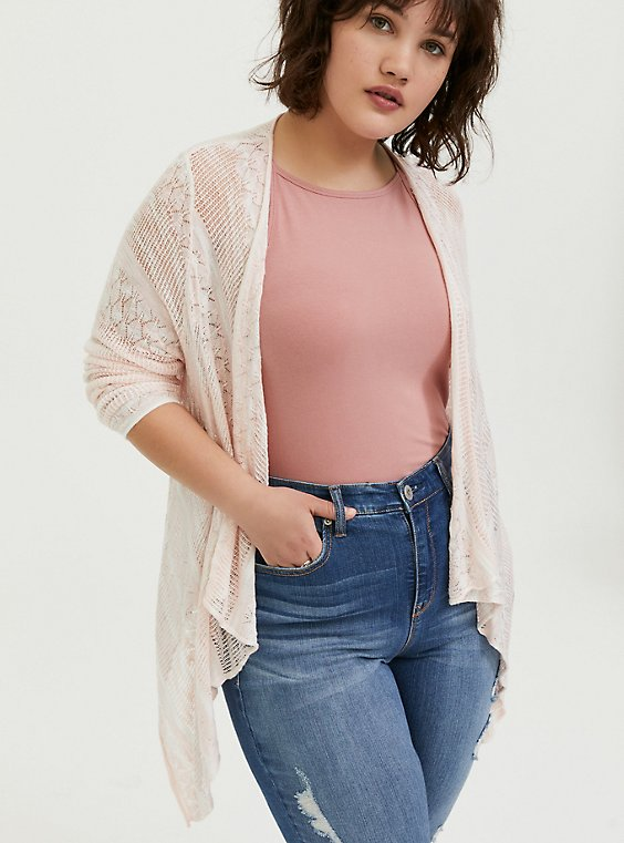 Peach Pink & Ivory Stripe Pointelle Drape Front Cardigan, , hi-res