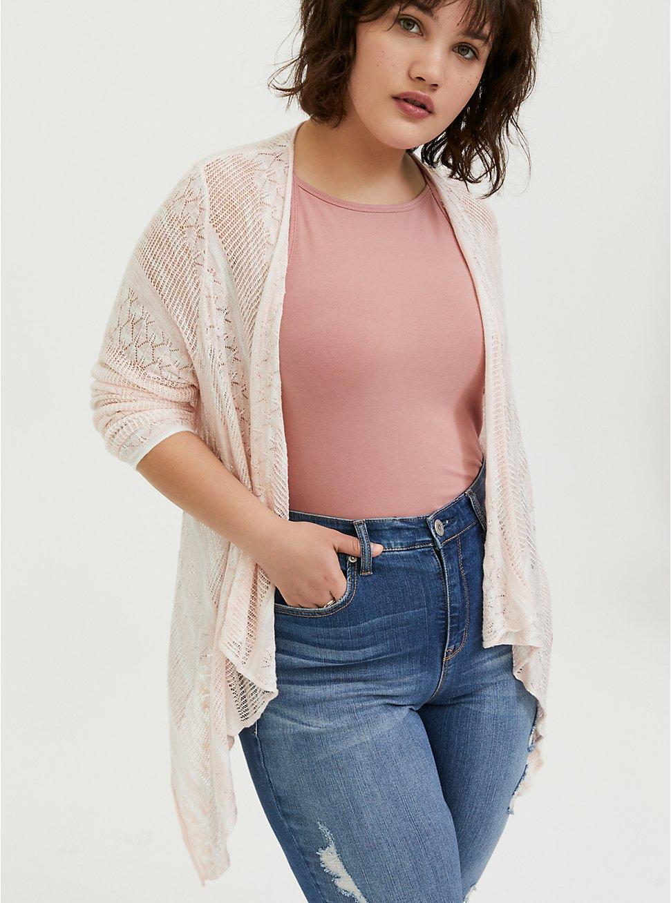 Peach Pink & Ivory Stripe Pointelle Drape Front Cardigan, PEACH BLUSH, hi-res