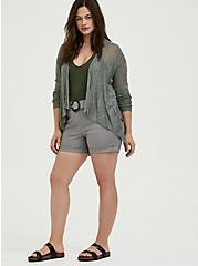 Plus Size Light Olive Green Pointelle Slub Drape Front Cardigan, AGAVE GREEN, alternate