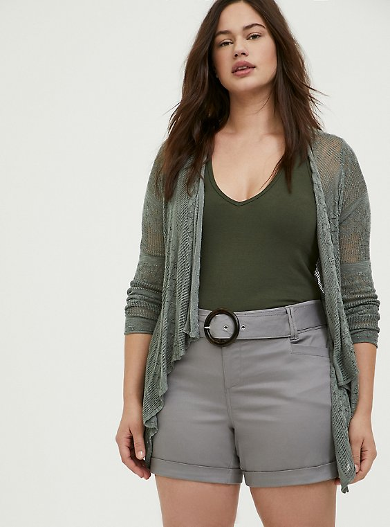Plus Size Light Olive Green Pointelle Slub Drape Front Cardigan, AGAVE GREEN, hi-res