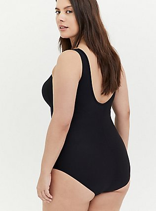 Plus Size Black Illusion Neck Wireless One-Piece Swimsuit , DEEP BLACK, alternate