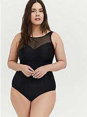 Black Illusion Neck Wireless One-Piece Swimsuit , DEEP BLACK, hi-res