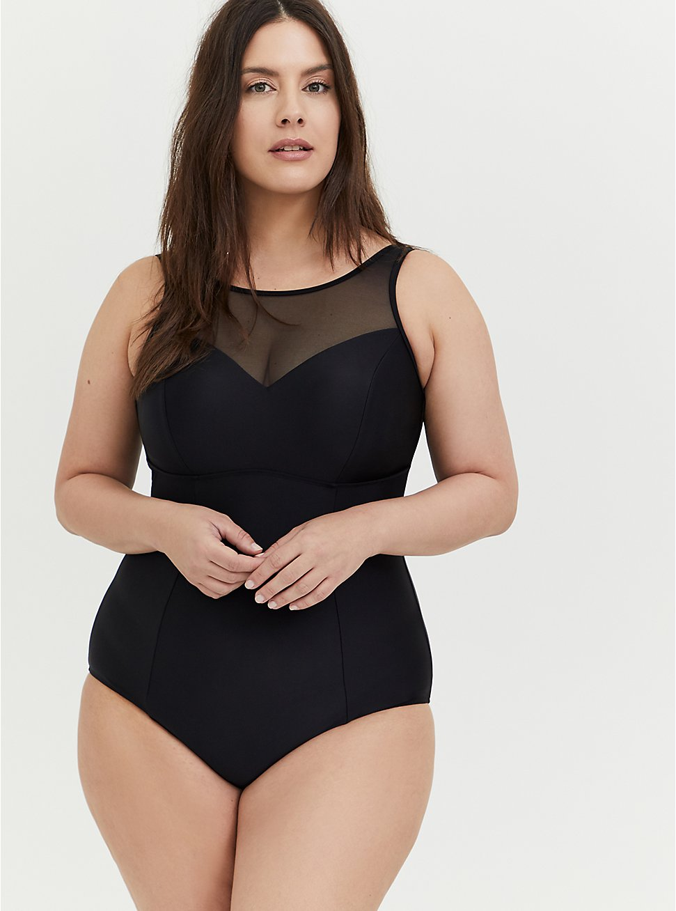 Plus Size Black Illusion Neck Wireless One-Piece Swimsuit , , hi-res
