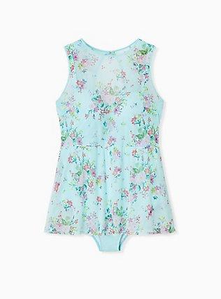 Plus Size Aqua Floral Mesh Push-Up Underwire One-Piece Skater Swim Dress, MULTI, alternate