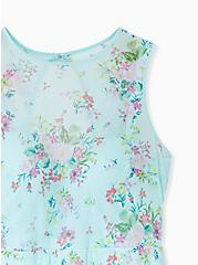 Plus Size Aqua Floral Mesh Push-Up Underwire One-Piece Skater Swim Dress, MULTI, alternate