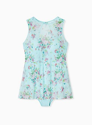 Plus Size Aqua Floral Mesh Push-Up Underwire One-Piece Skater Swim Dress, MULTI, flat