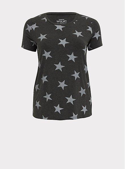Slim Fit Crew Tee - Super Soft Stars Charcoal Grey, STARS-BLACK, hi-res
