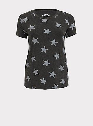 Slim Fit Crew Tee - Super Soft Stars Charcoal Grey, STARS-BLACK, flat