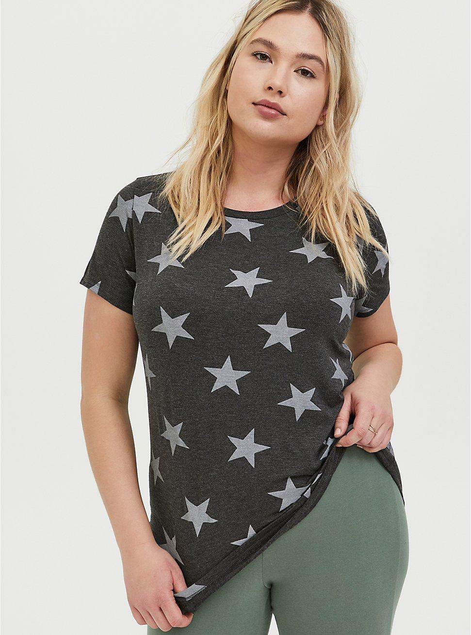 Plus Size Slim Fit Crew Tee - Super Soft Stars Charcoal Grey, STARS-BLACK, hi-res