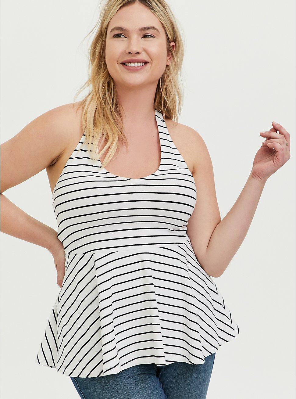 White & Black Stripe Peplum Foxy Halter Top, STRIPES, hi-res