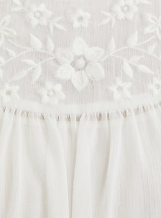 White Embroidered Chiffon Blouse, CLOUD DANCER, alternate
