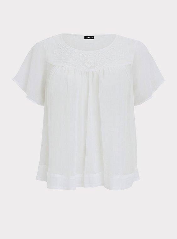 White Embroidered Chiffon Blouse, , flat