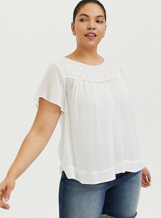 Plus Size White Embroidered Chiffon Blouse, , hi-res