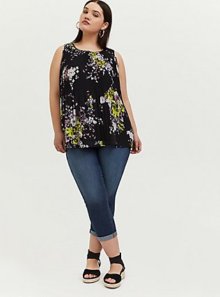 Black Floral Chiffon Pleated Tank, MULTI, alternate