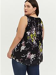 Plus Size Black Floral Chiffon Pleated Tank, MULTI, alternate