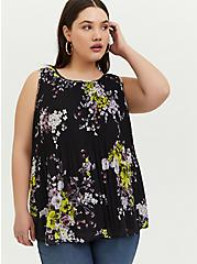 Plus Size Black Floral Chiffon Pleated Tank, MULTI, hi-res