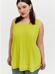 Plus Size Lime Green Chiffon Pleated Tank, SPRINGTIME GREEN, hi-res