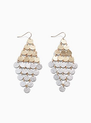 Plus Size Mixed Tone Disc Waterfall Statement Earrings, , hi-res