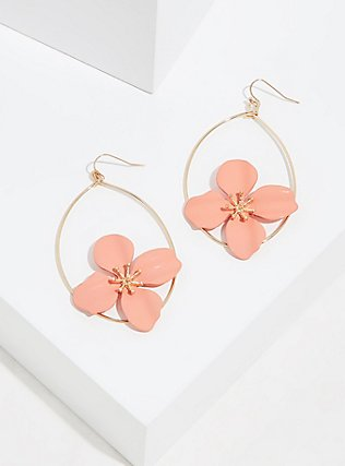 Gold-Tone & Peach Oversized Floral Drop Earrings , , hi-res
