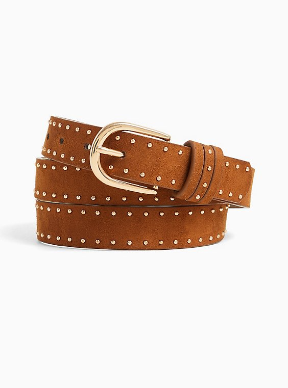Cognac Faux Suede Studded Belt, , hi-res