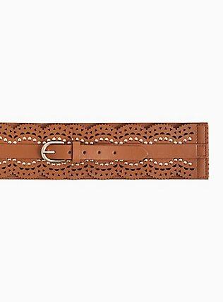 Plus Size Cognac Faux Leather Scalloped Studded Belt, BROWN, alternate